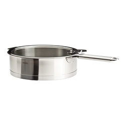 Cristel - Cristel Strate L Brushed Stainless Saute / Casserole Pan with Lid 3.49-qt. - The base is made out of an alloy of stainless steel and aluminum. The heat is simultaneously spread over the whole surface of the base and sides. For gentle, economic cooking with no risk of sticking and protecting all the nutritional qualities of food. Multicooking: suitable for all cooking cooktops; can also be placed on the oven (with or without the lid). Body in 18/10 brushed finish stainless steel. Handles in comfortable stainless steel, welded to the saucepans and riveted to the pans. Can be hung up by the handle for easy storage.Inside grading. Dishwasher safe.. Made in France.