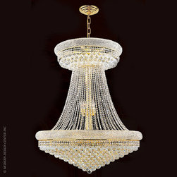 Worldwide Lighting Empire Chandelier W83037G36 - Worldwide Lighting Empire Collection 28 light Gold Finish and Clear Crystal Chandelier