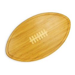 Picnic Time Kickoff Cutting Board / Serving Tray - Natural Wood - There are only four quarters to get people to try your sausage balls or mini-cheeseburgers so get them out of the huddle and on your team with the Picnic Time Kickoff Cutting Board / Serving Tray - Natural Wood. Crafted from sustainable bamboo with a natural food-safe finish this elegantly simple piece can be used as a serving tray or cutting board. A simple juice groove keeps any liquids on the tray where they belong. About Picnic TimeEven the name makes you smile! Since 1982 Picnic Time's mission has been to sell traditional European-style picnic baskets in America that everyone could afford. The company has continued to develop innovative and practical outdoor leisure products that inspire relaxation with friends and family. With a product line that continues to develop far beyond the traditional picnic basket (though theirs are the finest picnic baskets around!) Picnic Time will take you to the beach the country the mountains ... or best of all your own backyard.