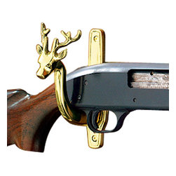 """Renovators Supply - Hooks Bright Brass Deer Pair Hook Gun Rest - Sold in pairs and coated with our protective RSF finish, these brass gun rests are decorated with a deer head for an attractive yet masculine look. They measure 1 1/2"""" in width at their widest point, and project 4 1/4"""" from a 6 1/8"""" tall backplate.  Four 1"""" wood screws included for mounting."""
