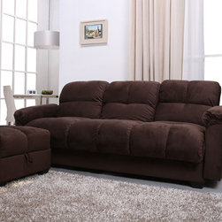 None - Phila Chocolate Sofa Bed/ Ottoman Set - The multi-functional storage sofa bed and ottoman set offers a classic design and sleek look. Flip the seat cushion open to reveal a spacious storage compartment to help keep your living room organized.