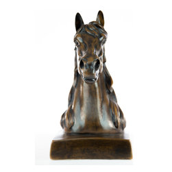 Casa de Arti - Horse Head Bust On Base Statue Animal Statuary Figure - Beautiful bust of a horse perfect for your home and office decor at an incredible price.