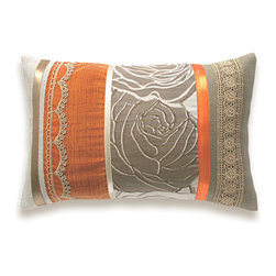 Orange Beige Lumbar Pillow Case OOAK 12 x 18 in IRMA DESIGN -