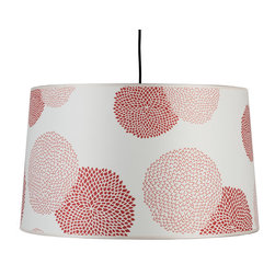 Lights Up! - Weegee Pendant Lamp, Mumm on Silk - If your space is a little quiet, maybe it's time to drum up some excitement. The slightly tapered drum shade on this pendant lamp comes in different colors, patterns and materials. With eight feet of cord and a fixture that holds two bulbs, it's a great way to add some boom to your favorite room.
