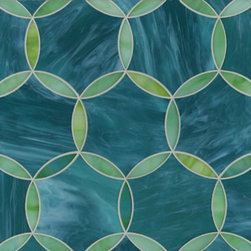 Beau Monde Glass Tile, Hex Circle, Tanzanite and Chrysoberyl - Glass mosaic tiles have the sparkle and sheen of precious jewels. Whether you choose art-inspired versions like these Ann Sacks tiles or simple 1-inch by 1-inch mosaics, they would be a great backsplash in a bathroom designed to complement a jewel-toned bedroom.