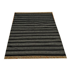 Striped Black Durie Kilim Hand Woven 3'x5' 100% Wool Flat Weave Rug SH15821 - Soumaks & Kilims are prominent Flat Woven Rugs.  Flat Woven Rugs are made by weaving wool onto a foundation of cotton warps on the loom.  The unique trait about these thin rugs is that they're reversible.  Pillows and Blankets can be made from Soumas & Kilims.