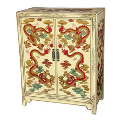 Oriental Furniture - Ivory Dragons Lacquer Shoe Cabinet - This is a finely crafted Oriental shoe cabinet, traditionally kept by the entrance of homes throughout the Far East for storing shoes before entering the home. Finished in a lovely, unique, fine ivory lacquer, it has been hand painted with an ornate Chinese dragon design. Both a practical storage space, and an outstanding home decor accent, it will bring the mystic power of the dragon to your home or office.