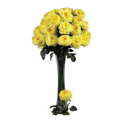 "Nearly Natural - 31 in. Large Rose Stem - Set of 12 - Represents flowers at their peak bloom. This arrangement commands attention. Will last for years to come. Construction Material: Polyester material, Iron wire. 11 in. W x 5 in. D x 31 in. H ( 3 lbs. )Ok, think about ""love"", and what flower comes to mind? The rose, of course! Bursting with color, these roses are created to represent flowers at a peak bloom; with full, lush heads and petals that command attention (and will last forever). Complete with hunter green stems and faux thorns, these look so real your guests will be ""stopping to smell the roses"" every time they come over. Sold as a set of 12."