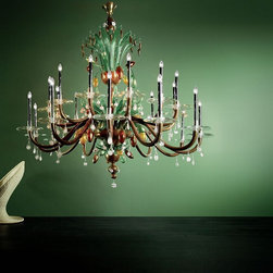 De Majo Murano glass traditional chandeliers - DE MAJO - MURICANU CHOCOLATE - Chandelier