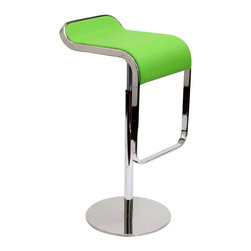 Modway - Modway EEI-138 LEM Bar Stool in Green - The LEM Style Bar Stool has sleek lines that would be equally impressive in a restaurant or at home. Our premium version has a high quality Italian leather seat. Perfect for entertaining guests at restaurants, your home bar,  or for stylish seating around the kitchen counter.