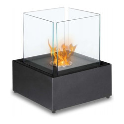 Cube XL Tabletop Bio Ethanol Fireplace - Add a piece of living art to your space with this cube fireplace. You and your guests will marvel at the ingenuity of this mesmerizing visual as you watch the flames dance in the cube.