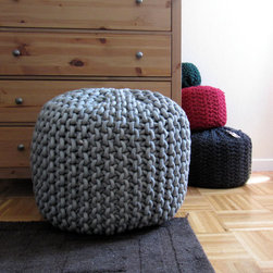 Giant Knit Rope Pouf Pattern by Mary Marie Knits - This is soft and textural seating for your space.