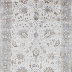 """Glen Cove Rug Co - Hand-Knotted Bamboo Silk Oushak Area Rug, Ivory, 8'10""""x12'2"""" - Oushak stands for the western Anatolian Turkish city, known for its rare collectible rugs made during the Ottoman Empire. Today we are recreating these historical carpets, in the centuries-old hand weaving techniques, the same fantastic designs in a variety of colors to fit today's decor and taste using super soft/luster bamboo silk, hand-knotted in India"""