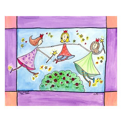 Oh How Cute Kids by Serena Bowman - Ring Around The Rosy, Ready To Hang Canvas Kid's Wall Decor, 24 X 30 - Part of my Fairy Nursery Rhymes series. I have several in the series for boy and girls!  Each are sold separately but coordinates with everything in the series for an easy fun room decor!