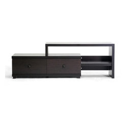 Baxton Studio - Baxton Studio Blythe Modern Asymmetrical TV Stand - Looking for something a bit different? This unique TV stand is based on an off-center, asymmetrical design but still holds a good deal of storage for your home entertainment accessories.  Two drawers provide concealed storage and several multi-level shelves allow you to store DVD players or home d???cor.  The unit is made of economical lapped chipboard with a dark brown paper veneer with matching wooden legs and drawer pulls. To clean, simply wipe with a damp cloth. Made in Malaysia; assembly is required.