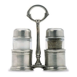 Match Pewter - Salt & Pepper with Caddy by Match Pewter - In a world dominated by mass production, Match pewter is handmade by artisans in Northern Italy. Its classic forms harmonize with both traditional and modern settings, recalling celebrations at well laid tables. Each piece bears a stamped symbol from the region in which it was made.