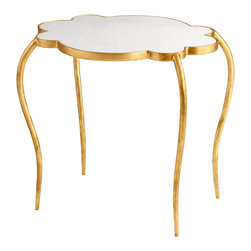 Cyan Design - Cyan Design Flora Small Transitional Side Table X-93260 - From the Flora Collection, this Cyan Design side table features a unique top with scallop-inspired shaping for an almost floral appeal. This small transitional side table features a beautiful white toned marble top, supported by an iron body that has been finished in Gold Leaf.
