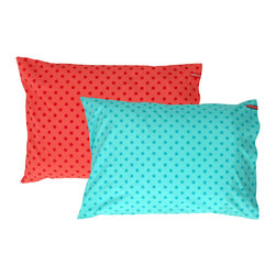 SWENYO - Red and Teal Polka Dot Pillow Case Set - Same is lame. Our unique pillowcases will add color and personality to any space. Hand-selected by our team of designers, this contrasting pillowcase set has vibrant colors and an incredibly soft feel finished with our signature red SWENYO tag.