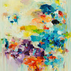 Siiso - Floating Clouds - A procession of sunlit clouds, some heavy with rain, breaks out in a rainbow of colors in Yangyang Pan's contemporary abstract painting. This high-quality giclee print captures those colors so vividly, the brushstrokes still look wet. This piece will freshen up your decor like a warm spring rain.