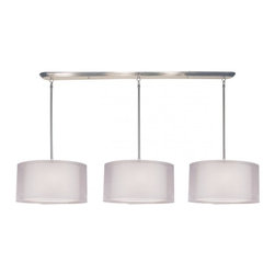 Nine Light Brushed Nickel Organza White Shade Drum Shade Island Light - This contemporary fixture uses three oval, white outer organza shades to allow a glimpse of the inner opaque shades, which emanate a soft glow. The hardware is finished in brushed nickel and includes telescoping rods to ensure a perfect hanging height. This fixture would be perfect for any contemporary space. Removable diffusers are included to soften the light.