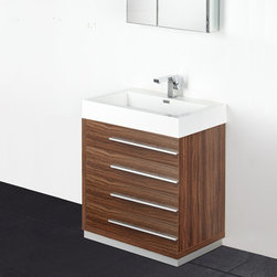 "Fresca - Fresca Livello 30 Walnut Modern Bathroom Vanity w/ Medicine Cabinet - Featuring a gorgeous Walnut finish and a minimal design, the Livello 30 vanity from Fresca provides a stylish yet highly practical storage solution for toiletries. A great addition to any bathroom, this vanity with four spacious soft close drawers and durable acrylic sink comes complete with the medicine cabinet. Livello Bathroom Vanity Details:   Dimensions: Vanity: W 29.38"" x D 18.75"" x H 33.5"", Medicine Cabinet: W 29.5 x H 26 x D 5 Material: MDF with Acrylic Counter top/Sink with Overflow Finish: Walnut Single hole faucet mount Slow closing drawers Includes medicine cabinet Please note: faucet not included"