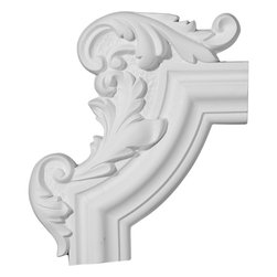 "Ekena Millwork - 13 1/4""W x 10 5/8""H x 1 1/8""P Pompeii Panel Moulding Corner, Left - 13 1/4""W x 10 5/8""H x 1 1/8""P Pompeii Panel Moulding Corner, Left. Our beautiful panel moulding and corners add a decorative, historic, feel to walls, ceilings, and furniture pieces. They are made from a high density urethane which gives each piece the unique details that mimic that of traditional plaster and wood designs, but at a fraction of the weight. This means a simple and easy installation for you. The best part is you can make your own shapes and sizes by simply cutting the moulding piece down to size, and then butting them up to the decorative corners. These are also commonly used for an inexpensive wainscot look."
