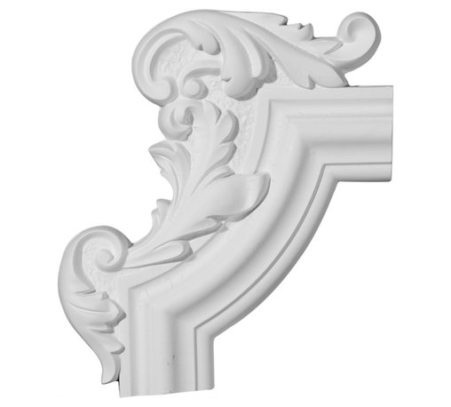 """Ekena Millwork - 13 1/4""""W x 10 5/8""""H x 1 1/8""""P Pompeii Panel Moulding Corner, Left - 13 1/4""""W x 10 5/8""""H x 1 1/8""""P Pompeii Panel Moulding Corner, Left. Our beautiful panel moulding and corners add a decorative, historic, feel to walls, ceilings, and furniture pieces. They are made from a high density urethane which gives each piece the unique details that mimic that of traditional plaster and wood designs, but at a fraction of the weight. This means a simple and easy installation for you. The best part is you can make your own shapes and sizes by simply cutting the moulding piece down to size, and then butting them up to the decorative corners. These are also commonly used for an inexpensive wainscot look."""