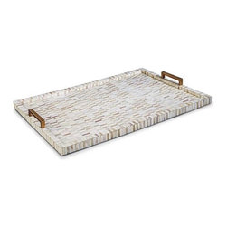 Regina Andrew Decor Multi-Tone Bone and Brass Tray - This bone mosaic tray has a timeless elegance. The brass handles and the shades of white and cream would work in many decors. This would be beautiful displaying crystal decanters or holding fresh flowers on a coffee table.