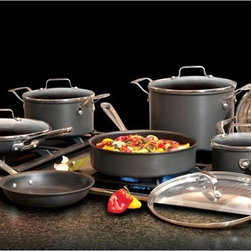 Emeril - Emeril Hard Anodized Nonstick Scratch Resistant 12 Piece Cookware Set - E871SC64 - Shop for Cookware Sets from Hayneedle.com! Rugged and low-maintenance the Emeril Hard Anodized Nonstick Scratch Resistant 12 Piece Cookware Set will quickly become your best friend in the kitchen. Featuring easy-pour spouts clear glass lids and a scratch-resistant non-stick hard anodized aluminum construction this cookware set makes both cooking and cleanup easier.Set includes: 8-in. fry pan 10-in. fry pan with lid 1-qt. sauce pan with lid 3-qt. casserole with lid 3-qt. steamer insert 3-qt. saute pan with lid and 6-qt. stockpot with lidAbout EmerilwareYou've probably seen him in on TV or maybe you've dined at one of his restaurants. Emeril Legasse is a renowned chef cooking show host and owner of 11 acclaimed restaurants. Throughout his diverse culinary career Emeril has mastered everything from bread- and pastry-making to the classic art of French cuisine. The celebrity chef is also the creator of his own premium cookware brand Emerilware. The Emerilware product line is known for its quality performance and design. From pots and pans to bread makers and blenders each piece is inspired by Emeril's passion for cooking and entertaining.