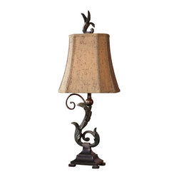 "Uttermost - Uttermost Caperana Lamp 9 x 7 x 23.5"" (Set of 2), Black - Matte black finish with a heavy verdigris wash over the leaf details and bronze undertones. The rectangle, clipped corners, bell shade is a silken chocolate bronze textile with black slubbing and multiple layers of trim. Sold as a set of 2.Designer: Carolyn KinderWattage: 40WDimensions: 9"" depth by 7"" width by 23.5"" heightMaterial: metal/poly"