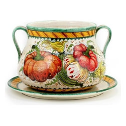 Artistica - Hand Made in Italy - ZUCCA: Cachepot/Vase with Platter - Hand Painted in Tuscany Italy!