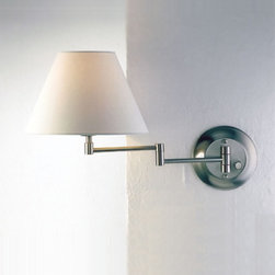 "Wall sconce 8164/1 - The Wall sconce No. 8164/1 is designed by Holtkotter. This swing-arm wall sconce is lit with a 75W bulb. A built in dimmer switch provides comfortable light control for all settings The hand-washable fabric shades are available in five colors.  Product Description: The Wall sconce No. 8164/1 is designed by Holtkotter. This swing-arm wall sconce is lit with a 75W bulb. A built in dimmer switch provides comfortable light control for all settings The hand-washable fabric shades are available in five colors.                           Manufacturer:             Holtkotter                            Designer:                         Holtkotter                                         Made in:            Germany                            Dimensions:                         Height: 11 3/8"" (16 cm) x Projection: max. 17 3/8"" (44 cm)                                         Light bulb:                         1 x 75W medium base or 75W Osram Halolux                                         Material:             metal, fabric"