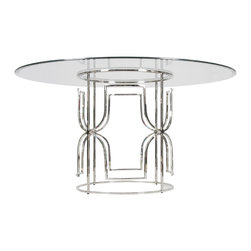 "Worlds Away - Worlds Away Nickel Plated Dining Table with 48""Dia Glass Top JENNIFER N48 - Worlds Away Nickel Plated Dining Table with 48""Dia Glass Top JENNIFER N48"