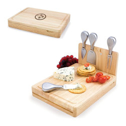 Picnic Time - Pittsburgh Steelers Asiago Folding Cutting Board With Tools in Natural Wood - The Asiago is a folding cutting board with tools that is another Picnic Time original design. This compact, fully-contained split-level cutting board is made of eco-friendly rubberwood. Lift up the top level of the board to reveal four brushed stainless steel cheese tools: a pointed-tipped cheese knife, cheese fork, cheese chisel knife, and blunt nosed hard cheese knife. The tools are magnetically secured to a wooden strip that lifts up so you can close the cutting board and display the tools. Designed with convenience in mind, the Asiago is great for home or anywhere the party takes you.; Decoration: Engraved; Includes: 4 brushed stainless steel cheese tools (1 pointed-tipped hard cheese knife, cheese fork, cheese chisel knife, and blunt nosed soft cheese knife