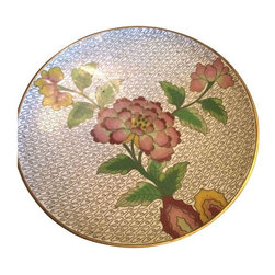Pre-owned Small Cloisonn̩ Dish - A beautifully decorated small Cloisonn̩ dish. The dish features a white body with green and pink hues, decorated with floral designs and gold accents.