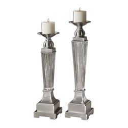 Uttermost - Uttermost Canino 2 Mercury Glass Candleholders - 2 Mercury Glass Candleholders belongs to Carolyn Kinder Collection by Uttermost Ribbed Mercury Glass With Brushed Aluminum Accents. Distressed Beige Candles Included. Sizes: Sm-5x20x5, Lg-5x22x5 Candleholder (2)