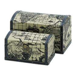 Benzara - Two Travel Chests With Ancient World Map - For anyone wanting to travel, their journey should never begin without a large set of mini travel chests. These are perfectly suited hold all the spoils of your adventure, and rugged enough to travel the world many times over. Printed with an ancient world map from 17th century Europe. When not in use they make for stunning piece of home decor too.