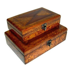 Cheung's - X-Cross Wooden Box Storage Treasure Chest w Lined Interior - Set of 2 - This wooden treasure chest is constructed of laminate wood and brown tone finish. This smooth polished and classic treasure chest is useful to store all your expensive things. Comes in two compact sizes to fit your specific needs. This is an extraordinary piece with excellent work of linen interior. Small (S): 9 in. L x 5.5 in. W x 2.5 in. H. Large (L): 10.75 in. L x 7 in. W x 3.25 in. H