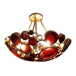 Used 1960s Handblown Glass Chandelier - Hand blown in the 1960s, this Mid-Century chandelier is glowing with charm and beauty. The frame structure consist of welded golden circle frames that are inlayed with beautiful amber and orange textured glass. It's in excellent vintage condition.