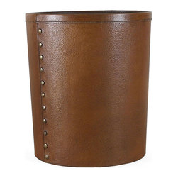 Pfeifer Studio - Embossed Leather Waste Bin - This classic waste bin is constructed from a durable shaped board frame and then covered with embossed goat leather. It features top stitching along the seams and a wipeable brown painted interior. It is finished with antiqued brass tacks. The handwork of the artisan is visible in every detail. Our leather accessories are crafted by artisans and have a hand made feel, distinguishing them from mass-produced styles. The leathers are tanned naturally, a process which does not hide the inherent characteristics of the skins, instead enhancing their unique beauty.