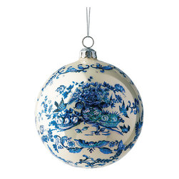 """Frontgate - Williamsburg Hand-painted 5"""" Ornament - 5"""" dia. handpainted, mouth-blown glass ornament. Styled after handpainted motifs found on tiles, apothecary jars, and vases in the Williamsburg Foundation's collection. Pairs handsomely with the Williamsburg 30-piece Ornament Collection, Williamsburg Palace Ornament, Williamsburg Lily of the Valley Ornament and Williamsburg Pineapple Ornament. Hanger included. Recommended for indoor use only. Our exclusive Williamsburg Handpainted Ornament takes its inspiration from delft pottery, the most fashionable ceramic ware of the late 17th and early 18th centuries. Influenced by Chinese porcelain, British delftware became a popular export to the American colonies, and Colonial Williamsburg has the largest collection in North America. Gorgeous hand painting makes this an exquisite addition to your tree.  . Styled after handpainted motifs found on tiles, apothecary jars, and vases in the Williamsburg Foundation's collection .  .  .  ."""