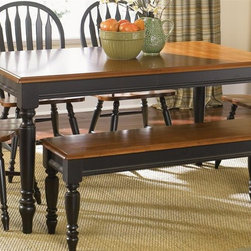 Liberty Furniture - Low Country Dining Table (Anchor Black) - Finish: Anchor BlackBench and chairs not included. Rectangular shape. One 18 in. leaf. Turned legs. Warranty: One year. Made from select hardwood solids and cherry veneers. Top in suntan bronze finish. Made in Malaysia. Minimum: 58 in. L x 38 in. W x 30 in. H. Maximum: 76 in. L x 38 in. W x 30 in. H (132 lbs.)