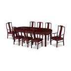 """China Furniture and Arts - 96in Rosewood Longevity Design Oval Dining Table with 8 Chairs - Exhibiting its pleasing simple lines in a distinct Ming (1368-1644) style, this exquisite oval dining set is intricately carved in Chinese Key with longevity symbols. Completely handmade with solid rosewood by artisans in China using traditional joinery technique. Two 18""""W removable leaves for your convenience. Hand applied rich dark cherry finish."""