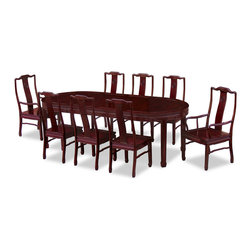 "China Furniture and Arts - 96in Rosewood Longevity Design Oval Dining Table with 8 Chairs - Exhibiting its pleasing simple lines in a distinct Ming (1368-1644) style, this exquisite oval dining set is intricately carved in Chinese Key with longevity symbols. Completely handmade with solid rosewood by artisans in China using traditional joinery technique. Two 18""W removable leaves for your convenience. Hand applied rich dark cherry finish."