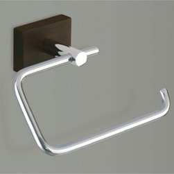Gedy - Chrome Toilet Roll Holder With Wood Base - Wall mounted polished chrome toilet roll holder/toilet paper holder with wooden base. Wall mounted toilet roll holder. Made of stainless steel with wood base. From Gedy Minnesota Wood Collection. Width of the mounting: 1.75 inch. Height of the mounting: 1