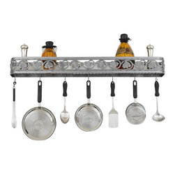 Hi-Lite MFG - Sandra Lee Wall Rack - Includes six pot rack hooks. Accessories not included. Made from steel. 46 in. L x 5 in. HHi-Lite achieved success through attention to detail and stubbornness to only manufacturer the highest quality product. Hi-Lite has built its reputation as a premier lighting manufacturer by using only the finest raw materials, inspirational designs, and unparalleled service. This allows us great flexibility with our designs as well as offering you the unique ability to have your custom designs brought to Light.