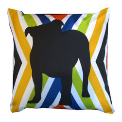 """Mari Robeson Home - Bulldog Pillow, Without Pillow Insert - Who doesn't love a cute little Bulldog? Inspired by bold retro colors, this little guy will cheer up any room! 16"""" x 16"""" pillow slip cover with zipper enclosure. Back is solid black cotton twill. Made in Sunny California! This is an original design by Mari Robeson."""