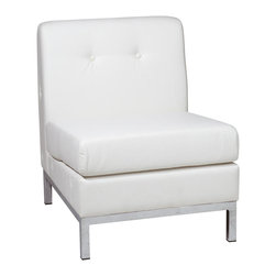 """Avenue Six - Wall Street Armless Chair - White Faux Leather - Avenue Six Wall Street Armless Chair - White Faux Leather; Wall Street Collection; White Faux Leather; Covered in High Performance, Easy Care Faux Leather; Box Spring Seat for Durability and Comfort; Available in Espresso Faux Leather (-E34), Black Faux Leather (-B18) and White Faux Leather (-W32); Chrome Finish Base; Fabric / Finish: White Faux Leather; Outer Materials: Faux Leather / Chrome; Assembly Required?: Yes; 1 Year Warranty; Assembled Dimensions: 23""""W x 28""""D x 30""""H; Seat Dimensions: 23""""W x 22""""D x 17.5""""H; Back Dimensions: 23.5""""W x 15.5""""H x 6.5"""" thickness"""