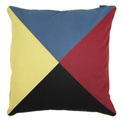 "Inviting Home - Nautical Pillowcase (Z Flag) - deccorative pillowcase 24"" x 24"" Like the real classic signal flags our pillowcases are stitched of solid color canvas sections not printed. Bold colors as specified in the international flag code manual. Fun and decorative these pillowcases can be used anywhere - beach house kids room inside or out on the porch. Each pillowcase has hidden back zipper and contrasting canvas trim."