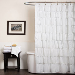 Lush Decor - Lush Decor White Ruffle Shower Curtain - Give your shower an update with this attractive shower curtain. This patterned curtain features polyester construction.